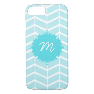 Blue Monogram Herringbone Quatrefoil iPhone 7 Case