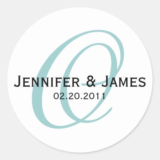 Blue Monogram O Wedding Favour Sticker