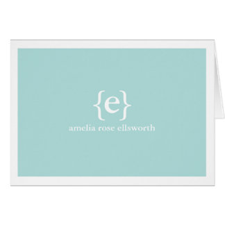 Blue Monogram Personal/Business Notecards Card