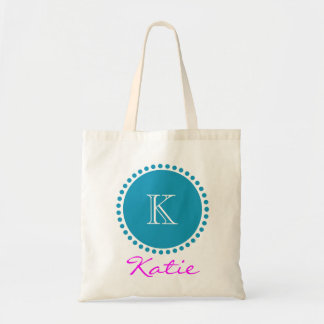 Blue Monogram Personalized Design Tote Bag