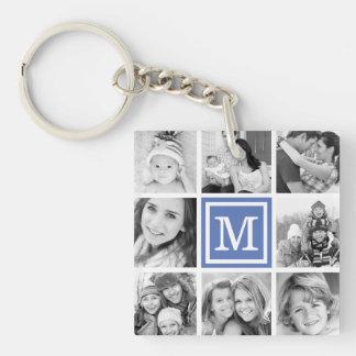 Blue Monogram Photo Collage Single-Sided Square Acrylic Key Ring