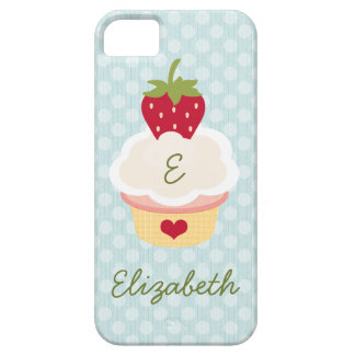 Blue Monogram Strawberry Cupcake Barely There iPhone 5 Case