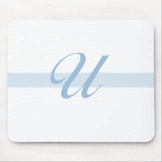 Blue Monogram U Mouse Mats