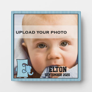 "Blue Monogrammed ""E"" Elephant Baby's Photo Plaque"