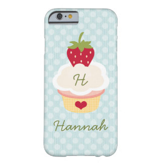 Blue Monogrammed Strawberry Cupcake Barely There iPhone 6 Case