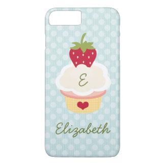 Blue Monogrammed Strawberry Cupcake iPhone 7 Plus Case
