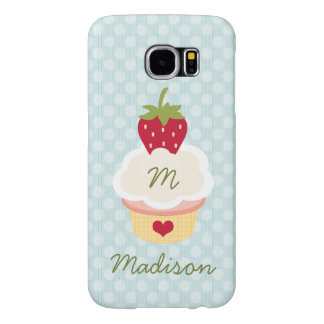 Blue Monogrammed Strawberry Cupcake Samsung Galaxy S6 Cases