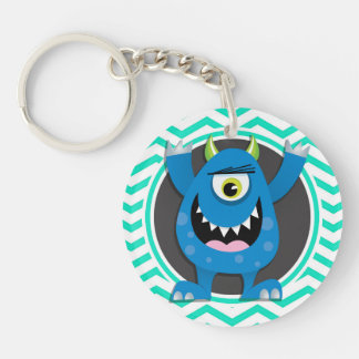 Blue Monster; Aqua Green Chevron Acrylic Key Chain
