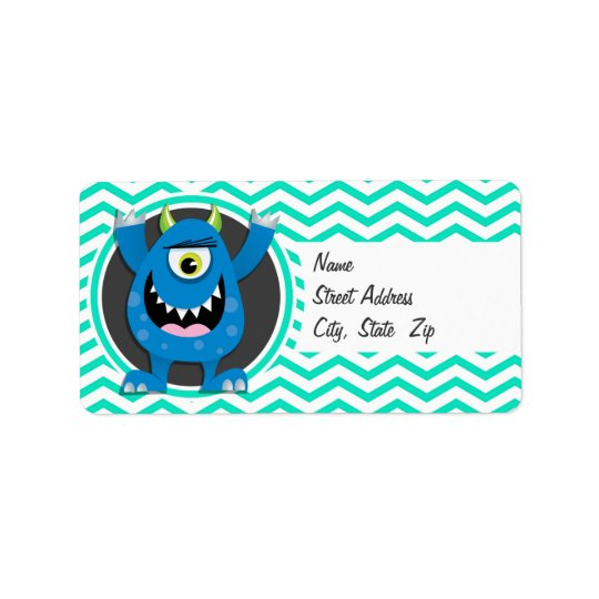 Blue Monster; Aqua Green Chevron Label