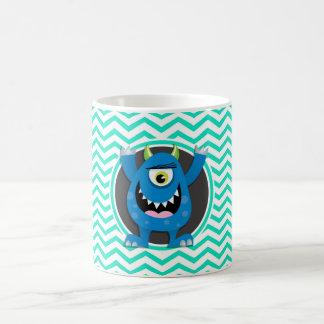 Blue Monster; Aqua Green Chevron Coffee Mug