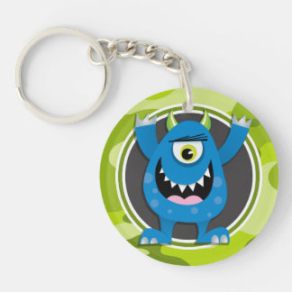 Blue Monster; bright green camo, camouflage Acrylic Key Chain