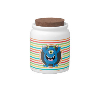 Blue Monster; Bright Rainbow Stripes Candy Dishes