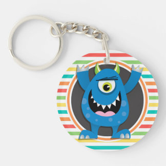 Blue Monster; Bright Rainbow Stripes Double-Sided Round Acrylic Keychain