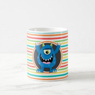 Blue Monster; Bright Rainbow Stripes Mugs