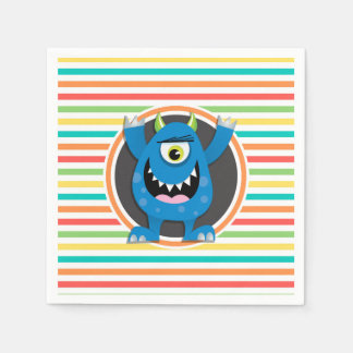 Blue Monster; Bright Rainbow Stripes Paper Napkin