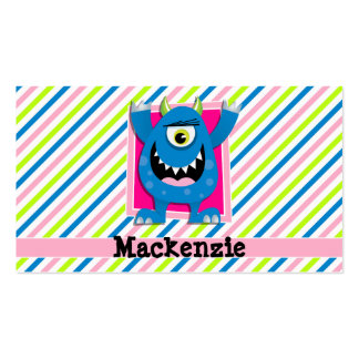 Blue Monster;  Neon Green, Pink, White Stripes Pack Of Standard Business Cards