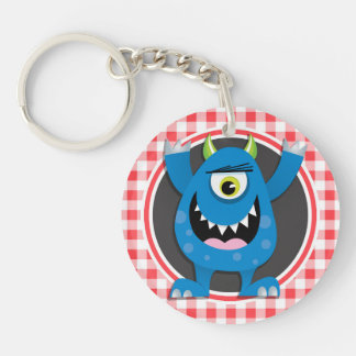 Blue Monster on Red and White Gingham Acrylic Key Chains