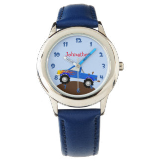 Blue Monster Truck Personalized Watch