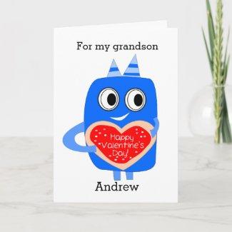 Blue Monster Valentine  Grandson Holiday Card