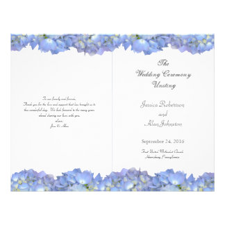 Blue Moon Folded Floral Wedding Program Template Personalized Flyer
