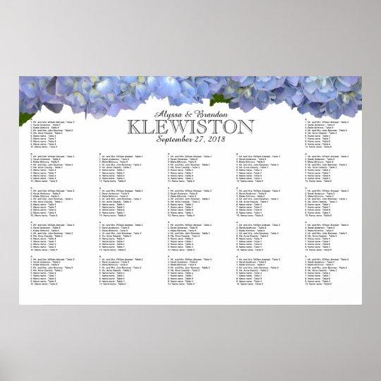 Blue Moon Hydrangea Wedding Seating Chart