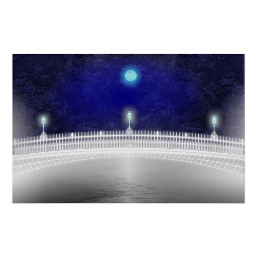 BLUE MOON OVER THE HAPENNY BRIDGE POSTER