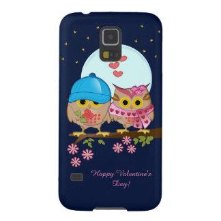 Blue moon owls in love & custom text galaxy s5 case