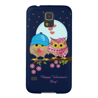 Blue moon owls in love & custom text galaxy s5 cases