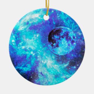Blue Moon Round Ceramic Decoration