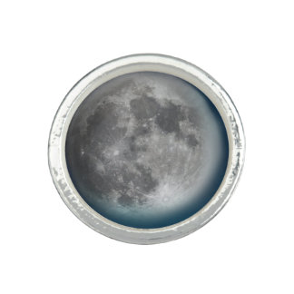 Blue Moon Round Silver Ring Photo Rings