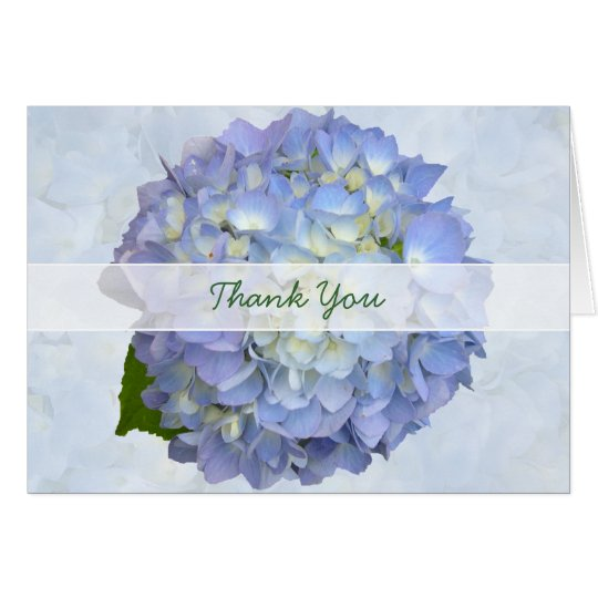 Blue Moon Thank You, Folded Hydrangea Note Card