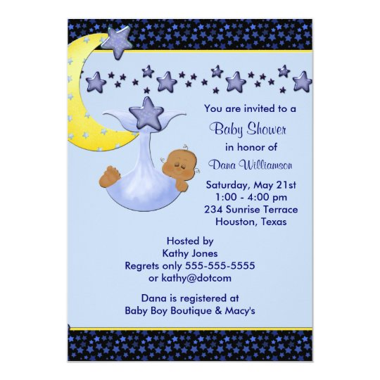 Blue Moon Yellow Stars Ethnic Boy Shower Card