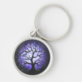 Blue Moonlit Ghost Tree Keychain