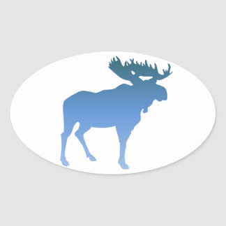 Blue Moose Oval Sticker