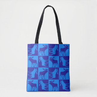 Blue moose pattern print all over tote bag