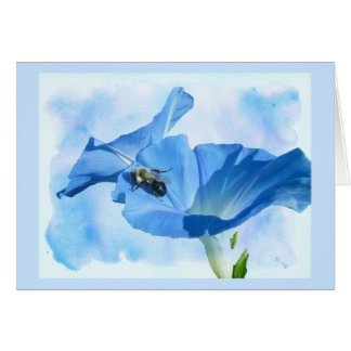 Blue Morning Glory and Bumblebee Card