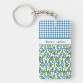 Blue Morning Glory and Check Gingham Keychain