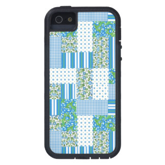 Blue Morning Glory Faux Patchwork iPhone 5/5s Case