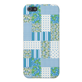 Blue Morning Glory Faux Patchwork Iphone 5c Case