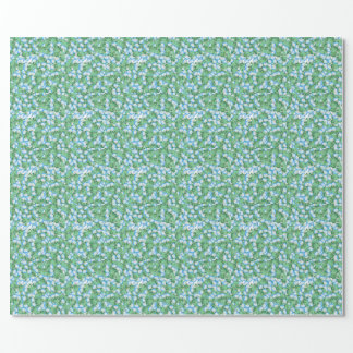 Blue Morning Glory Floral Flowers Garden Wrapping Paper