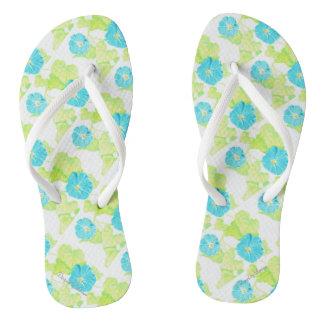Blue Morning Glory Garden Flip Flops
