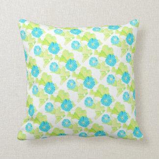 Blue Morning Glory Garden (w/ Green back) Throw Pillow