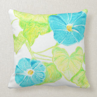 Blue Morning Glory (w/ Leaf detail back) Cushion