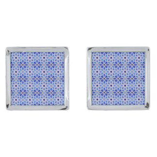 Blue Moroccan Geometric Pattern Silver Finish Cufflinks