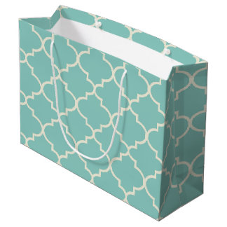 Blue Moroccan Lattice Pattern Large Gift Bag