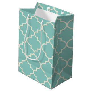 Blue Moroccan Lattice Pattern Medium Gift Bag