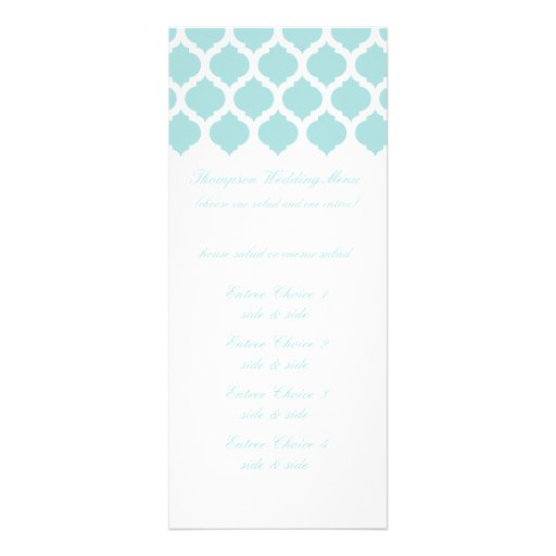 Blue Moroccan Pattern Wedding Menus Invitation