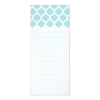 Blue Moroccan Pattern Wedding Menus 4x9.25 Paper Invitation Card