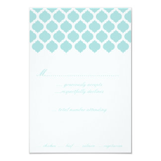Blue Moroccan Pattern Wedding Party RSVP Cards 9 Cm X 13 Cm Invitation Card