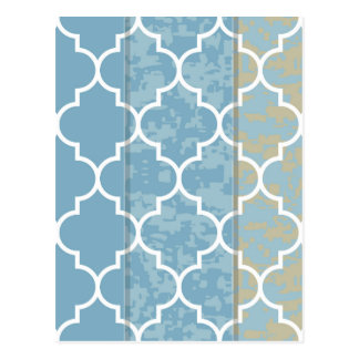 blue,moroccan,quatrefoil,pattern,trendy,modern,fun postcard